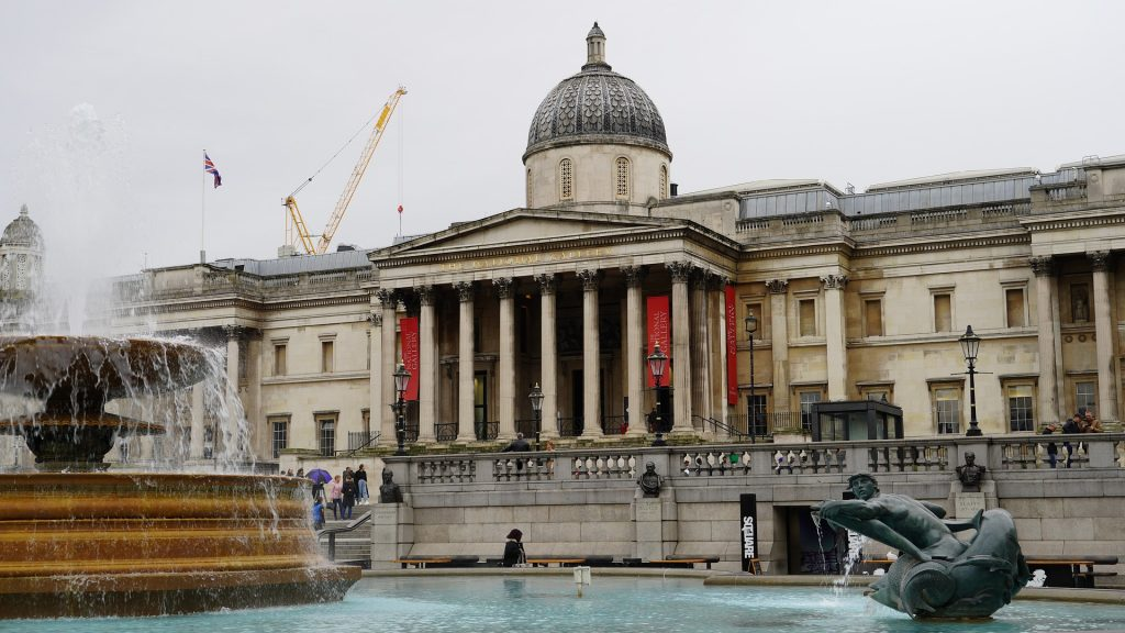 Trafalgar Square Fountain and the national gallery building in the background