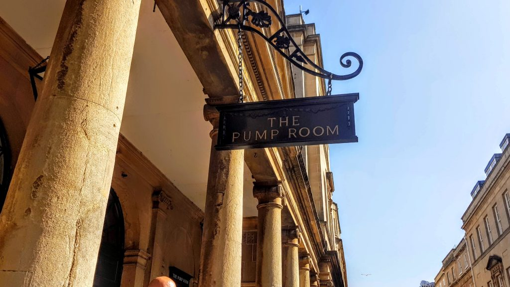 Sign of The Pump Room in Bath