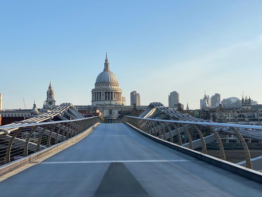 Millenium bridge with St Pauls in the background