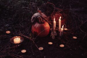 pumpkins, candles and barbed wire